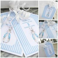 5 x Personalised PETER RABBIT first birthday Party Bag tags PARTY BAG LABELS TAG