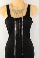 "Women Gold Metal Chain Fashion Jewelry 25"" Long Rhinestones Fringes Necklace"
