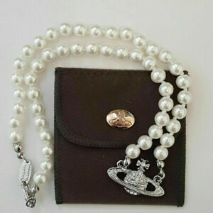 Vivienne Westwood Mini Bas Relief Pearl CHOKER Necklace with Silver Orb