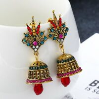 Vintage Ethnic Crystal Tribal Bell Drop Dangle Ear Stud Earrings Women Jewelry