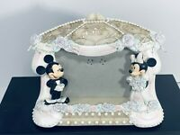 Disney Authentic Mickey And Minnie Wedding Picture Frame holds 4x6 (No Glass)