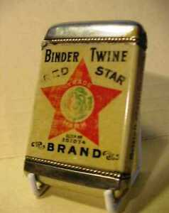 AN ANTIQUE VESTA MATCH SAFE - OPENS/SHUTS TIGHT - ADVERTISING FOR RED STAR TWINE