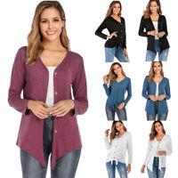 Women Long Sleeve V Neck Button Down Cardigan Blouse Casual T-Shirt Tops