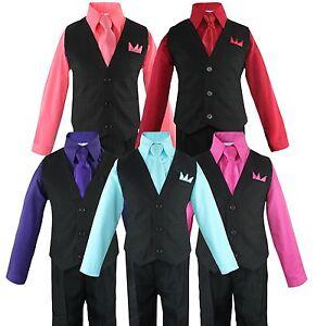 Toddler Boys 4 Piece Suit Set, Solid Black Vest and Pants w/ Colored Shirt 2T-14