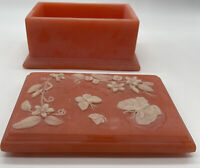 Vintage Soapstone Trinket Jewelry Box Lidded Peach Floral Butterflies