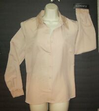 Elementz Ladies Beige Lace collar and cuffs Long Sleeve blouse Size Med NWT