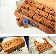 New Retro Vintage Wooden Box Uppercase Alphabet Capital Letter Rubber Stamps Set