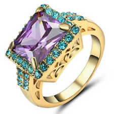 US SELLER AMETHYST PURPLE RECTANGLE SOLITAIRE Ring YELLOW GOLD Plated SIZE 8