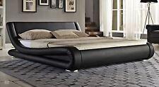 Super King Size Bed Frame 6FT Bedstead PU Leather Black Deluxe Bedroom Furniture