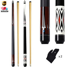 "2pcs 58"" Billiard Pool Cue 13mm Leather Cue Tip Canadian Maple Pool Sticks&Glove"