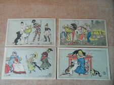 4 x CHROMO Victorian TRADE CARD CHOCOLAT GRONDARD Litho HERMET Scenes diverses