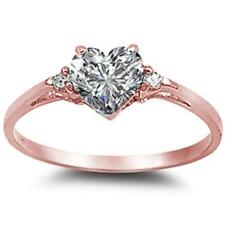 Rose Gold Plated Cubic Zirconia Heart .925 Sterling Silver Ring