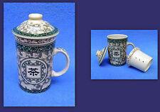 tazza di tè bicchiere tè con coperchio + TEIERA asiadekor FIORI VERDE ASIA