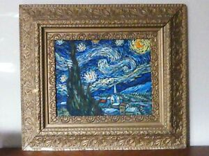 1890's Gold Gilded 34 x 30 Frame Van Gogh Starry Night by Geelong Oil On Canvas