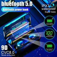 4000mAh bluetooth 5.0 TWS LED Wireless Headphones Stereo IPX7 Earbuds