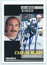 Charlie Huddy signed 1990-91 Pinnacle card Los Angeles Kings autograph #225
