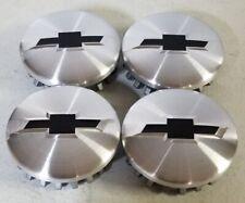 4 - Center Caps Machined/Brushed BLACK BOWTIE GM/Chevy Silverado/Tahoe 2014-2020