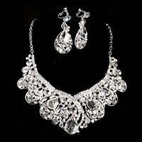 Wedding Bridal Party Prom Jewelry Crystal Rhinestone Necklace Earring Set