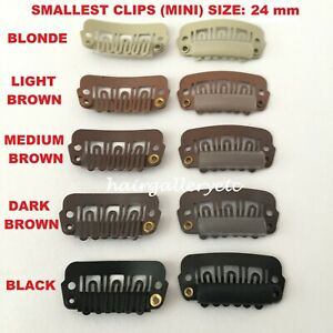 QUALITY MINI HAIR EXTENSION CLIPS SNAP WIG CLIPS FOR TOUPEES HAIR PIECES 24mm