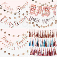 Rose Gold OH BABY Baby Shower Banner Bunting Gender Reveal Party Decorations