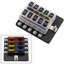 10-Way Blade Fuse Box Block Holder LED Indicator for 12V 24V Car Marine MA1286