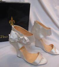 Pour La Victoire Satin Bridal/Evening Wedge Bow Shoes Size 10