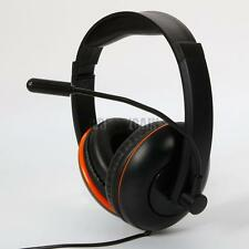 High Quality Wired Stereo Headset Headphone for PS4 PC Computer Black +Orange