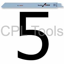 "5 Hojas DE SIERRAS RECIPROCANTES Sable Bosch S1122BF 225mm/9"" Flexible Para Metal"