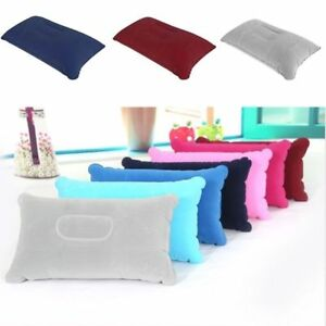 Inflatable Sleeping Pillow Travel Air Plane Cushion Camping Outdoor Head Rest UK