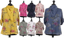 New Italian Ladies Women Lagenlook Floral Cotton Tunic Top with Scarf Size 14-22