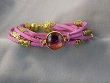 Bracelet Suédine Rose Cabochon Pétale de Fleur Rose Prune