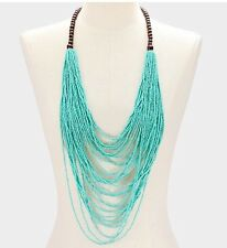 Seed Bead Mint Turquoise Long  Blue Multi Layered Strand Chunky Necklace