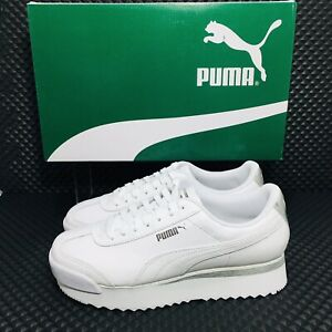 Puma Roma Amor Leather Met Women's Athletic Casual Sneakers White Lifestyle Shoe