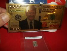 GRAM OF .999 SOLID SILVER, & 1 GOLD FOIL $1000 TRUMP FUN NOVELTY COLLECTORS BILL