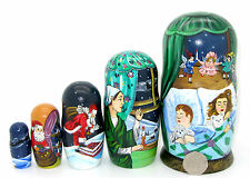 Russian 5 nesting Doll Santa sleigh chimney Christmas NIGHT good children signed