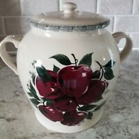 "Home And Garden Party Canister 9"" Large Stoneware Pottery Apple"
