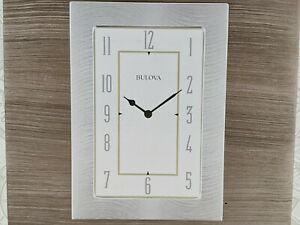 Bulova Woodside Desktop Metal Dial Clock B1237 Wood Case Grey NIB