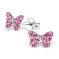 Girls 925 Sterling Silver Butterfly Stud Earrings with Pink Crystals Boxed