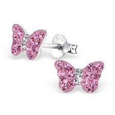 Chicas Aretes Mariposa De Plata 925 con cristales de color Rosa en Caja