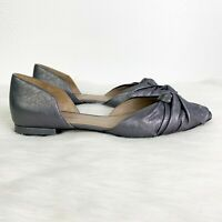 Donald Pliner Womens 9.5 Silver Pennie Leather d'Orsay Flat Shoes Pointed Ruched