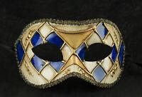 Maske Fasching Venedig- Colombine Mosaikmuster Blau Golden Ball- Masqué 1051 V55