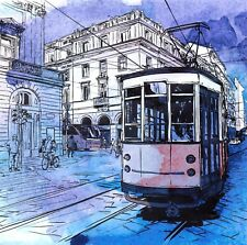 Art Watercolour Sketch Postcard showing Old Tram D4