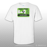 New York Zombie Hunting Permit T-Shirt Tee Shirt Free Sticker outbreak response