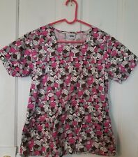 EUC! V Life pink white brown black flowers, floral scrubs top, shirt size small