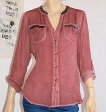 "Neu ! Biba Bluse Pailetten & Turn Up Riegel "" Watercolors "" dark rose Gr.34"