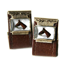 Cuff Links Brn Leather Wrap Around Reverse Painted Under Glass Horse Equestrian
