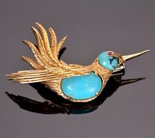 Vintage Estate Yellow Gold and Turquoise Hummingbird Brooch 18k Yellow Gold