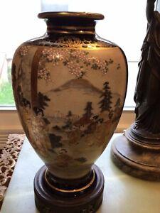 "Lovely 9 1/2"" Satsuma vase W/ Scenes"