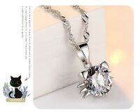 "925 Sterling Silver Kitty Cubic Zirconia Cat Pendant Necklace 18"" Chain Gift Box"