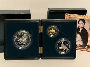 1995 Civil War 3 Coin Commemorative Proof Set 50c Clad, $1 Silver, $5 Gold